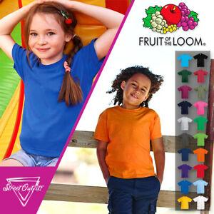 Kids Plain T-Shirt Fruit Of The Loom Original Cotton Childrens Shirt Age 3-15
