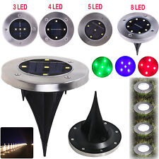 Solar Power 2/3/4/5/8 LED Buried Lamp Under Ground Inground Recessed Deck Light