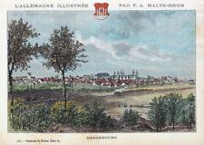 Merseburg, Gesamtansicht. Handkolorierter Stich um 1885, Malte-Brun