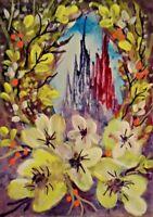 ACEO SFA original art  painting mixed media fantasy castle view  by Gweddus