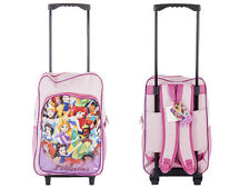 Childrens Character Trolley Backpack Rucksack Luggage Cabin Bag Suitcase Wheels Disney Princess - CB
