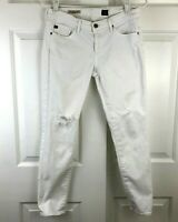Adriano Goldschmied AG Womens Jeans Stevie Ankle Distressed Skinny White Size 28