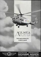 GIOVANA AGUSTA HELICOPTERS GALLARATE AGUSTA 101G 38-42 SEAT HELICOPTER 1965 AD