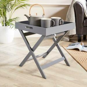 Grey Folding Butlers Side Table Portable Wooden Food Serving Tray Drink Dinner