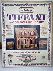 "Vintage Whitney Tiffani Wood Dollhouse Kit Greenleaf Doll Houses 1"" to 1' scale"