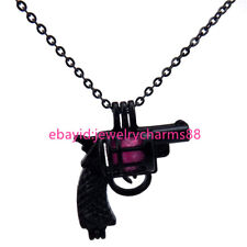 H11 Black Plated Stainless Necklace Alloy 29mm Handgun Pistal Pearl Beads Cage