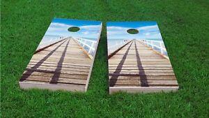Boardwalk On The Ocean Custom Cornhole Board Game Set