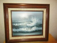 Vintage Oil Painting by Taylor Beach Seascape Seagulls Crashing Ocean Waves 8x10