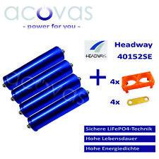 4x Headway 40152SE LFP/LiFePo4 15Ah 10C 3,2V Akku Zellen Bausatz 12V 4S1P