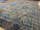 WOW! Antique 14x22  Kashaan SIGNED  Oriental Area Rug Blue Brown Navy ca. 1910
