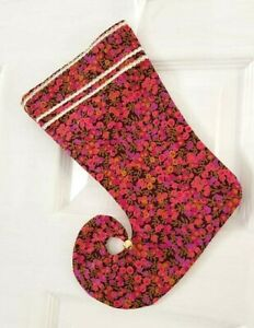 LIBERTY FABRIC ELF CHRISTMAS STOCKING PINK GREEN 'WILTSHIRE BERRY' JINGLE BELL