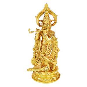 "Brass Standing Krishna Playing Flute Idol Statue Figurine 12"""