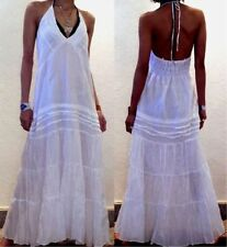BOHO Vtg LONG WHITE RUFFLE HALTER/MAXI DAY/SUN DRESS 14