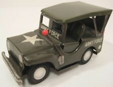 """Wonderful Old Tin Friction Toy ARMY FORCE Jeep w Antenna 4 1/4"""" Japan 1950 Nice!"""