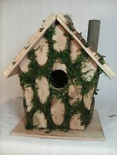 Wood & Moss Edged Birdhouse w/ Perch & Cleanout Hole