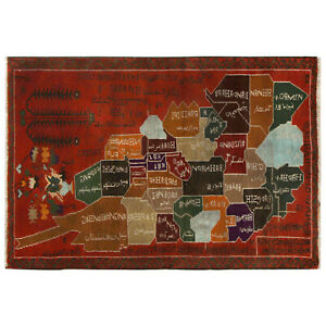 Stunning Handmade Afghan Map Baluchi Design Red Wool Rug 129 x 86 cm - 10450