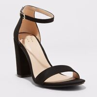 a new day Women's Ema Ankle Strap Black High Block Heel Pumps Size 10