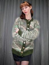 Vintage Handmade Mossy Green Soft Mohair Wool Blend Cardigan Sweater AUS 14 L