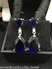 14 CTW SAPPHIRE & LCS DIAMOND DROP EARRINGS ANGELINA J. COLLECTION