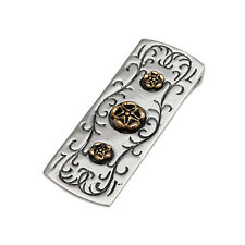 ARABESQUE ENGRAVED 925 STERLING SILVER & BRASS STAR FLOWER MONEY CLIP gs-m004