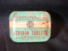 Old Vtg Laymons 6's Aspirin Tablets 6- 5 grain World's Products Co USA