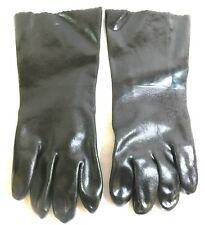 """Gauntlet Type Black Chemical Resistant Gloves Size Large 14"""" 3BA52 (6 Pairs)"""