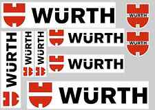 WURTH STICKER SET - SHEET OF 9 STICKERS - DECALS