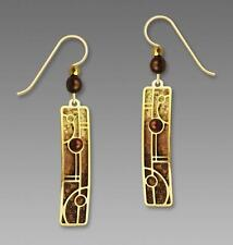Adajio Brown Tan Column Gold Tone Circle & Line Overlay Earrings Handmade 7446