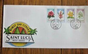 SAINT LUCIA  CHRISTMAS FLOWERS POINSETTIA BALISIER XMAS CANDLE 1988 SET FDC