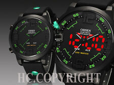 Luxury OHSEN Men's LED Time Analogue Date Sport Quartz Silicone Band Wrist Watch