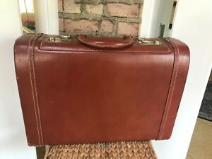 """STYLITE Leather Suitcase Vtg Brown Hard Shell Luggage 19"""" x 14"""" x 6"""" Knapp's"""