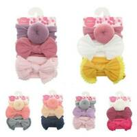 Kids Baby Girls Toddler Bow Hair band Headband Stretch Turban Knot Head Wrap*3Pc