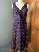 Hobbs Navy Blue & Pink Spotted A Line Sleeveless Silk Dress Size 12