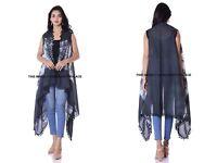 Women Boho Black Tie Dye Cotton Beach Kimono Cardigan Long Cover Up Jacket Coat