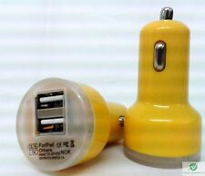 YELLOW Universal Dual USB Cable Car Cigarette Lighter Charger Adapter 2 Double
