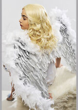 Deluxe Sparkle White and Silver Feather Angel Wings