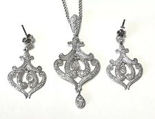 Sterling Silver 925 THAILAND Diamond Pave Necklace And Earrings Set JTV