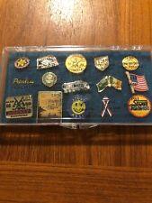 LOT Of Vintage Pin Backs Lapel Enamel Pins In Case.