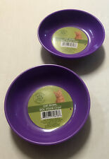 2 Pet Bowls Purple Easy Clean Heavy Duty With No Tip Non Slip Rubber Bottom.