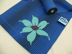 WIDE! Blue Cotton Japanese YUKATA Fabric Bolt w/Flowers H294