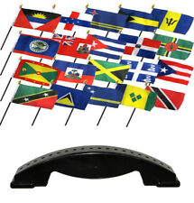 4x6 Caribbean Country 20 Desk Set Table Stick Flags w/ 20 Hole Base Stand