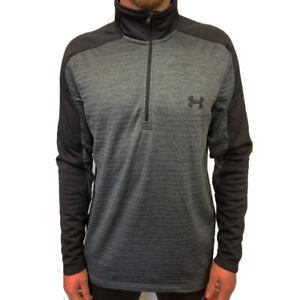 Under Armour UA ColdGear Mens Grey Fleece Sweatshirt Golf 1/4 Zip Top L
