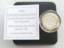 2001 MARCONI PIEDFORT £ 2 Due Pound Argento Proof MEDAGLIA BOX COA