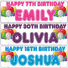 2 personalised birthday banner balloon kids children adults party poster deco