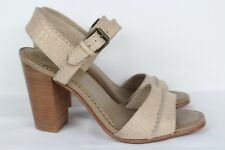 Frye Women's Portia Two Seam Sandals Heels Size 8m Croc Beige Leather