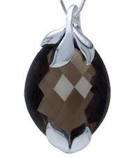 Smoky Quartz Gemstone 30.34 carat Sterling Silver Pendant + Chain