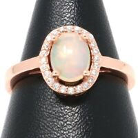 1 Ct Natural Rainbow Opal Ring Women Jewelry Gift 14K Rose Gold Solid Silver