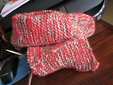 "Slippers Booties Slipper Socks Hand Knit 11"" Red Tan Ex Warm Durable Wool Blend"