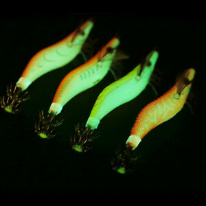 4 SQUID JIGS LURE # 2 EGI GLOW TAIL Tackle Calamari Squid Jig Fishing Lures PFS