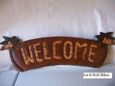 """Home Decor Palm Tree Sign """"Welcome"""" Hand Carved New!"""
